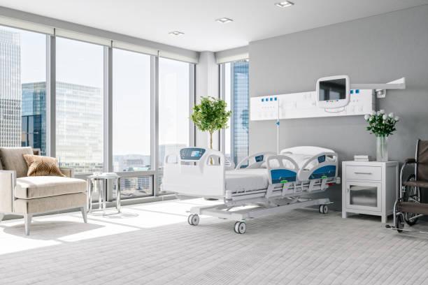 Empty Luxury Modern Hospital Room stock photo