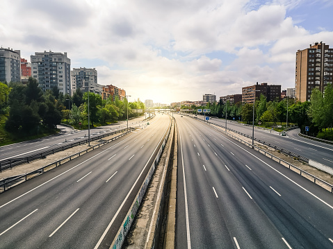 Empty M30 Highway in Madrid during COVID-19 pandemic outbreak and quarantine.