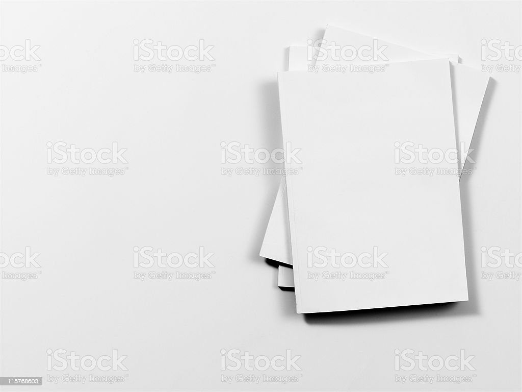 Empty magazine covers on white background stock photo