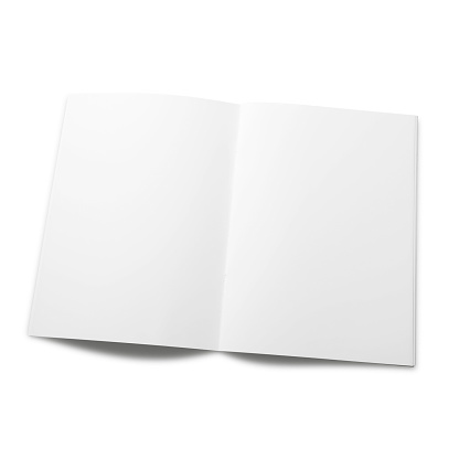 Empty magazine pageisolated on a white background. Objects with Clipping Paths