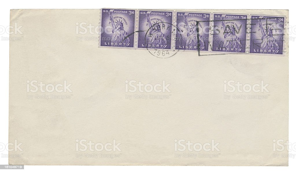 Empty mail envelope (clipping path included) royalty-free stock photo