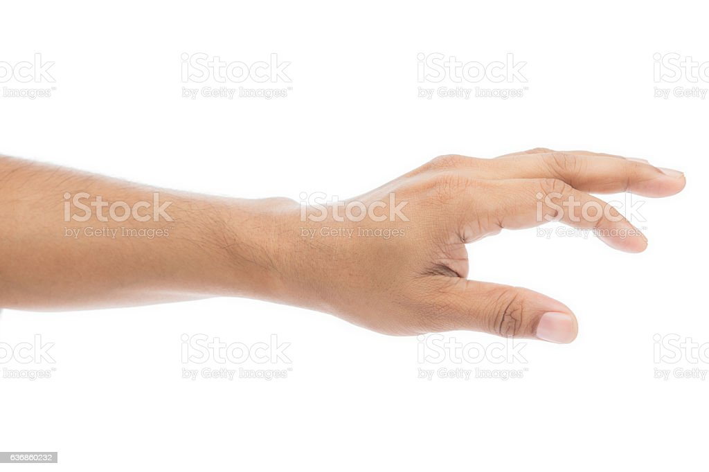 Empty man hand isolated on white background stock photo