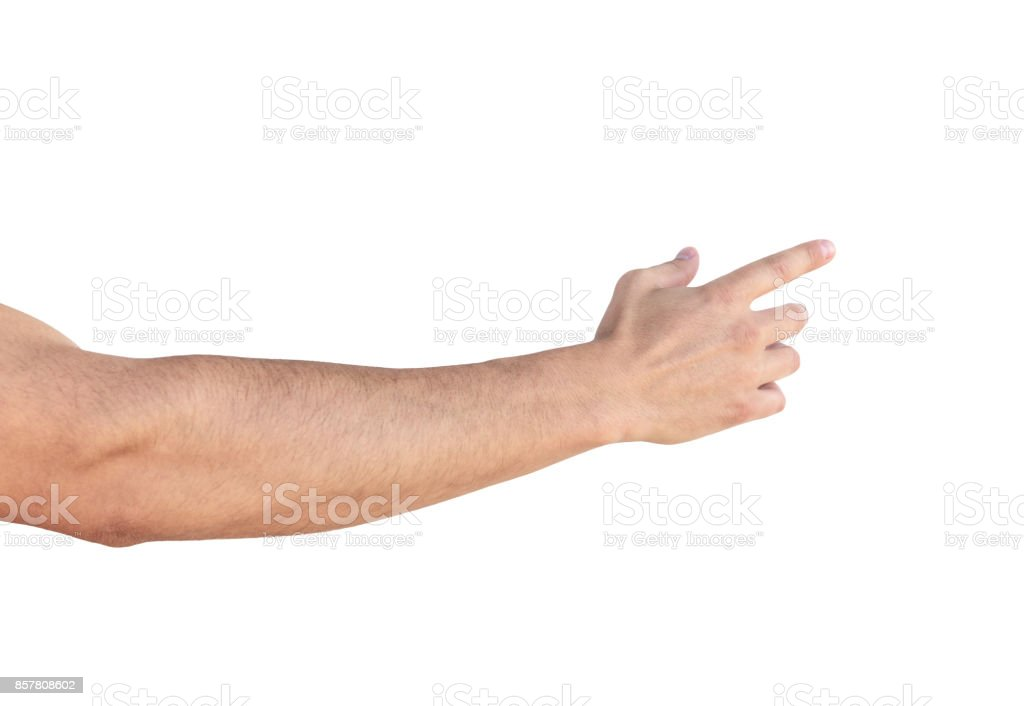Empty man hand sign on white background stock photo
