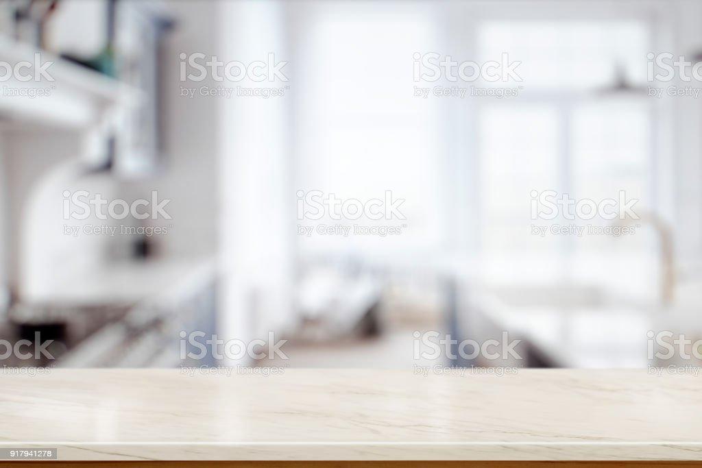 Contador de mármore vazia na sala de cozinha. para o alimento ou produto exibir montagem - foto de acervo