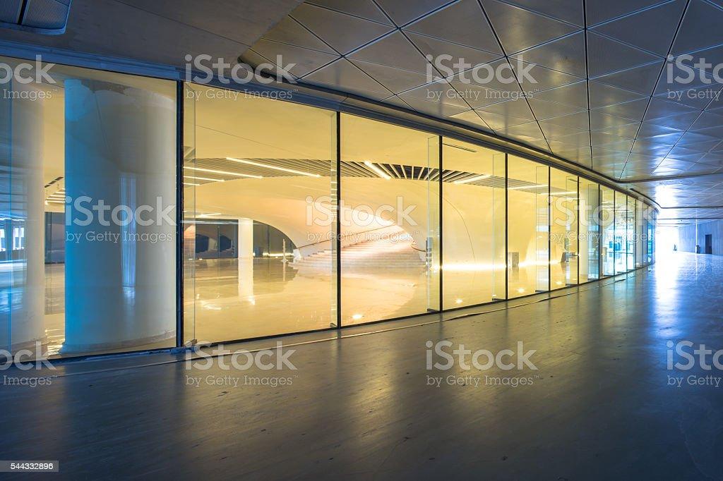 empty marble floor before round display window stock photo