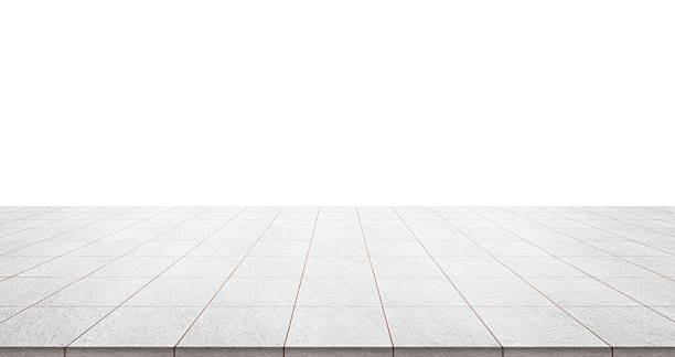 empty marble floor isolated on white background - 땅 뉴스 사진 이미지