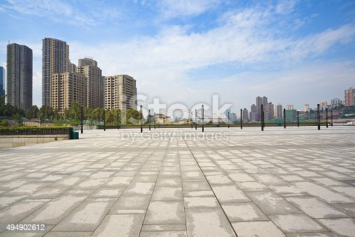 Empty Marble Floor With City Building Background Stock
