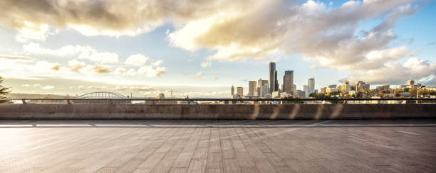 empty marble floor with cityscape of modern city stock photo