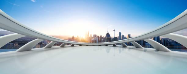 近代的な都市景観と空の大理石の床 - 未来都市 ストックフォトと画像