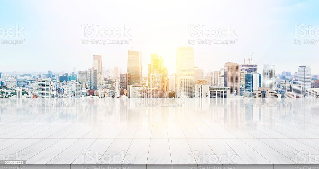 Empty marble floor with panoramic Tokyo city view stock photo