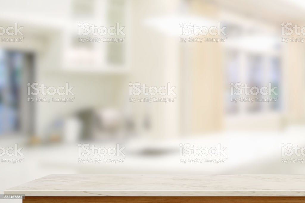 Empty Marble Table With Blurred Modern Kitchen Room Background Stock Photo Download Image Now Istock