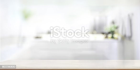 istock Empty marble top table with blurred bathroom interior Background. 802290830