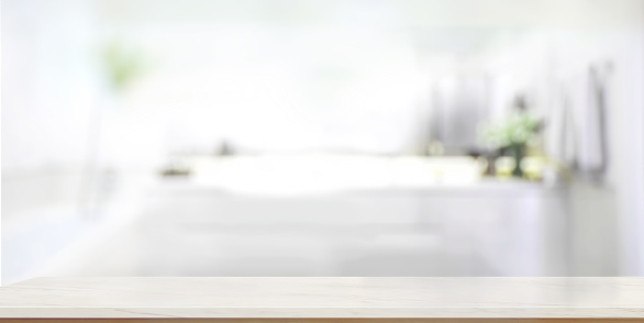 819534860 istock photo Empty marble top table with blurred bathroom interior Background. 802290830