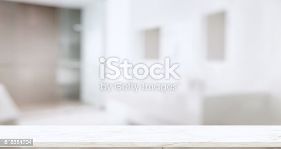istock Empty marble top table with blurred bathroom interior Bckground. 818384204