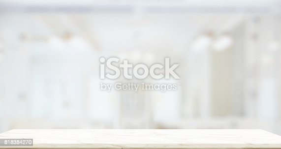 istock Empty marble top table with blurred bathroom interior Bckground. 818384270
