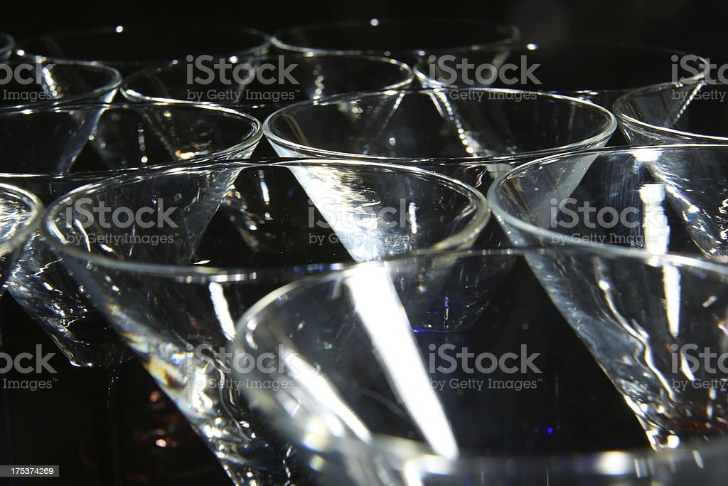 Empty martini cocktail glasses royalty-free stock photo