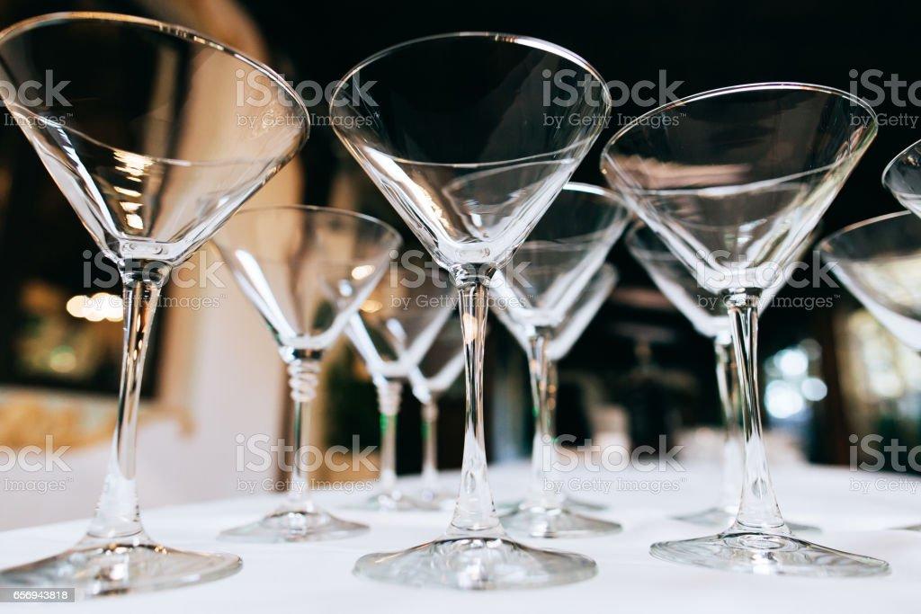 Empty Martini Glasses Closeup Wedding Reception Alcohol Drink Table