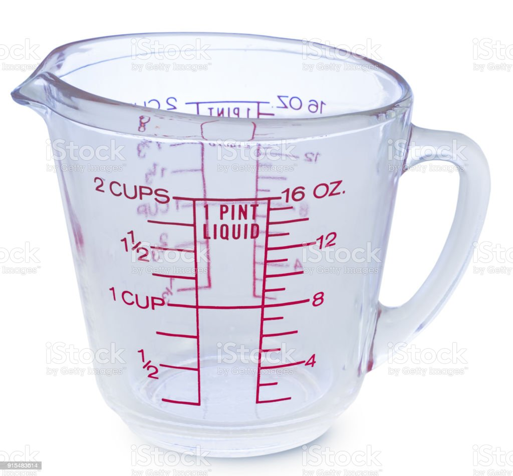 Empty measuring glass cup on white background stock photo