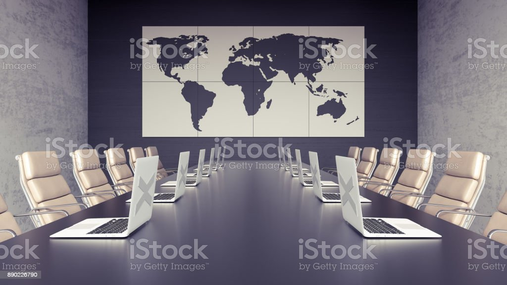 Empty meeting room and conference table with laptops 3d render stock photo
