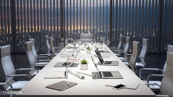 1064053478 istock photo Empty meeting room and conference table with laptops, modern office 3d render 1140109978