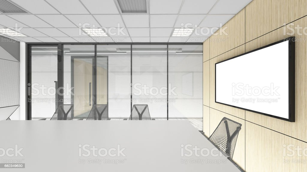 empty meeting room in office corporate, 3d render interior design, mock up illustration foto stock royalty-free