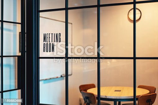 Empty meeting room with trendy black frames available for use
