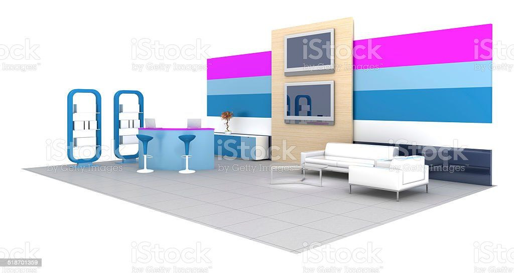 Empty meeting stand isolated on white stock photo
