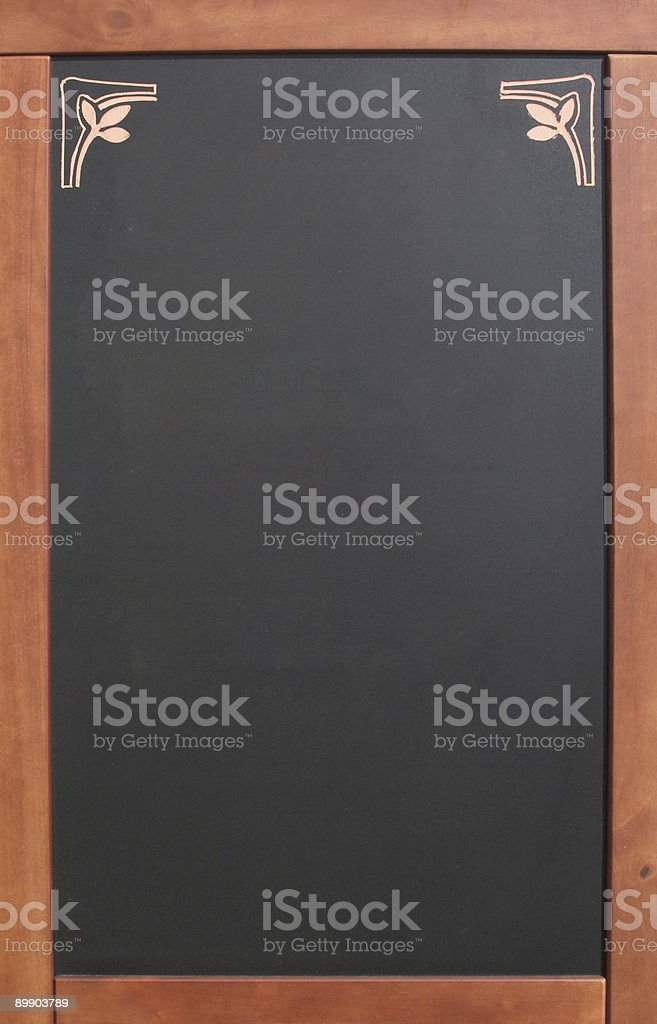 Empty menu blackboard with wooden frame royalty-free stock photo