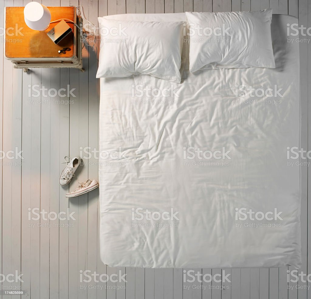Empty Messy Bed stock photo