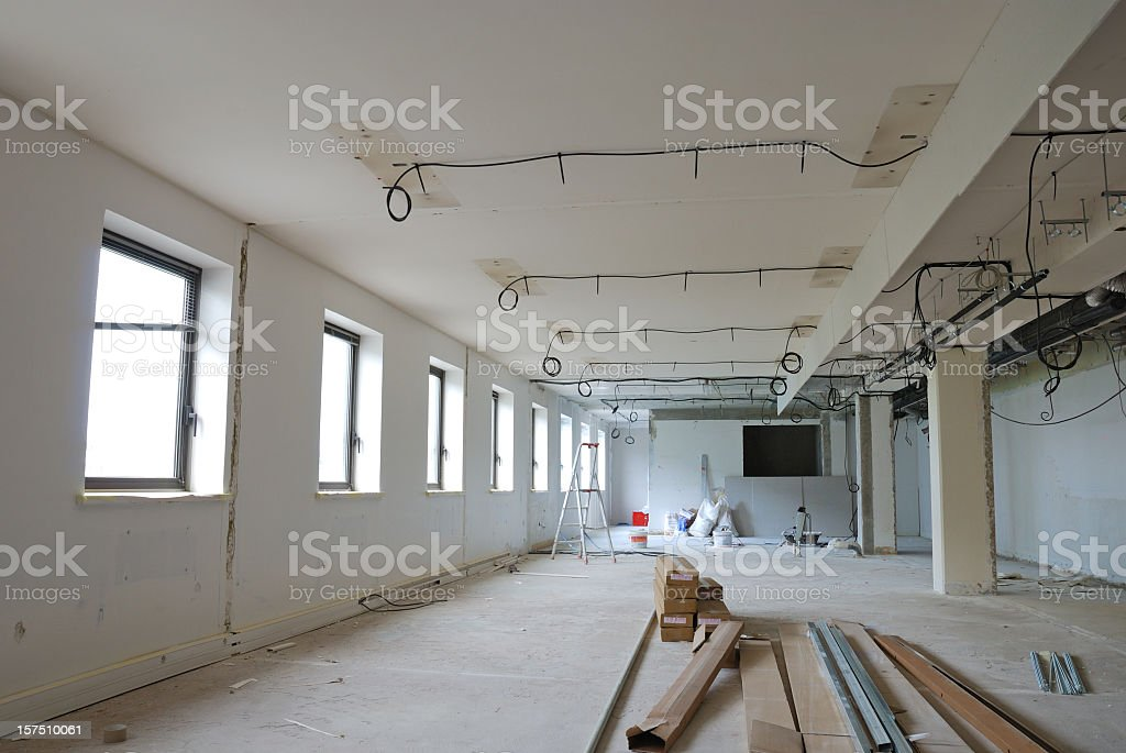 Empty messy office site under construction royalty-free stock photo
