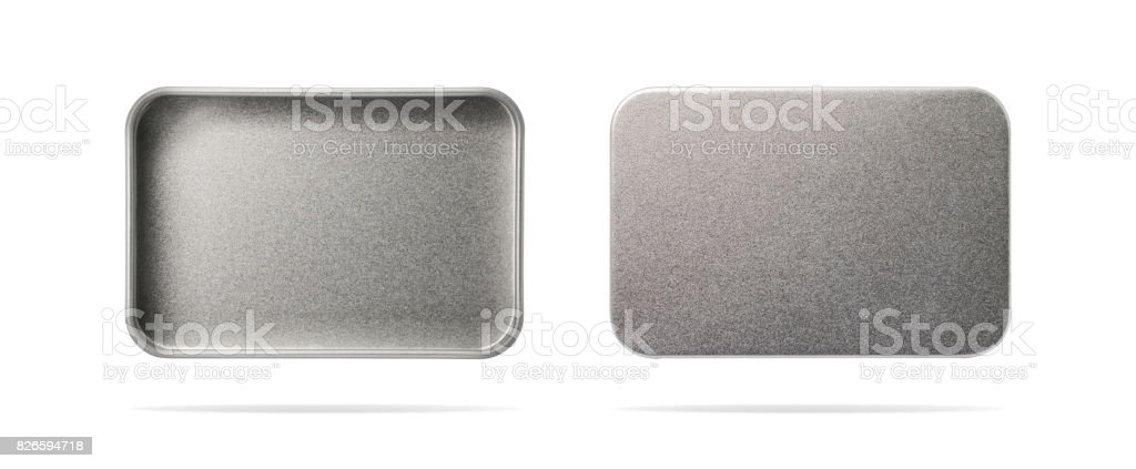 Empty metal box isolated on white background. Steel container or accessory package for your design. ( Clipping path or cut out object for montage ) Can put text, image, and logo. stock photo