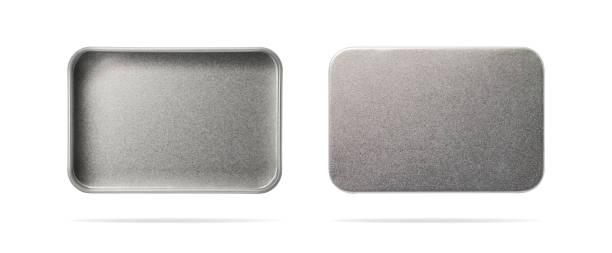 leere metallbox isoliert auf weißem hintergrund. stahl-container oder zubehör-paket für ihr design. (clipping-pfad oder ausgeschnittene objekt für montage) können text-, bild- und logo setzen. - blech stock-fotos und bilder