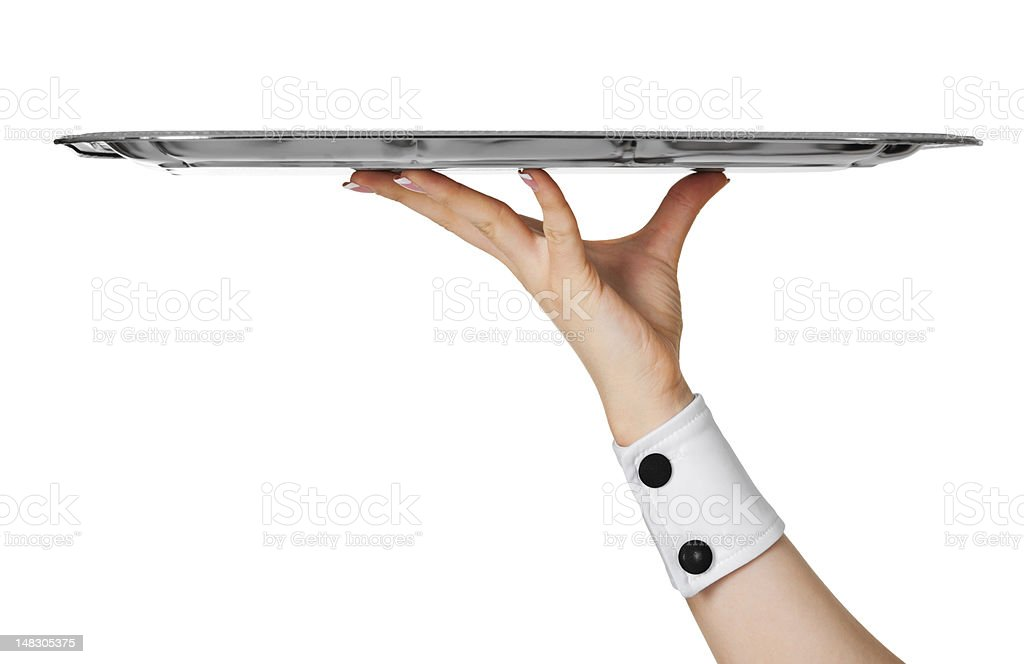 Empty metal tray on hand stock photo