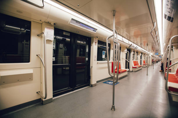 Empty metro of Santiago stock photo