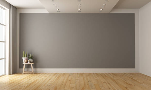 empty minimalist room with gray wall on background - space foto e immagini stock