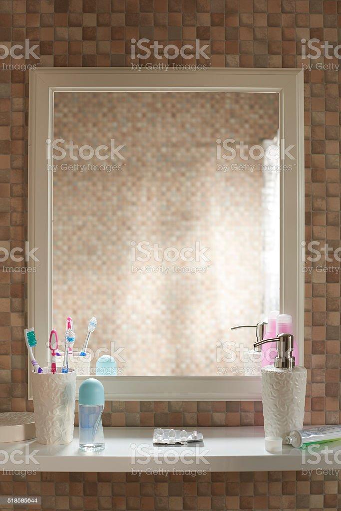 POV empty mirror stock photo