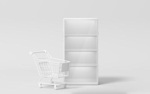 Empty mobile phone merchandise cabinet, 3d rendering.
