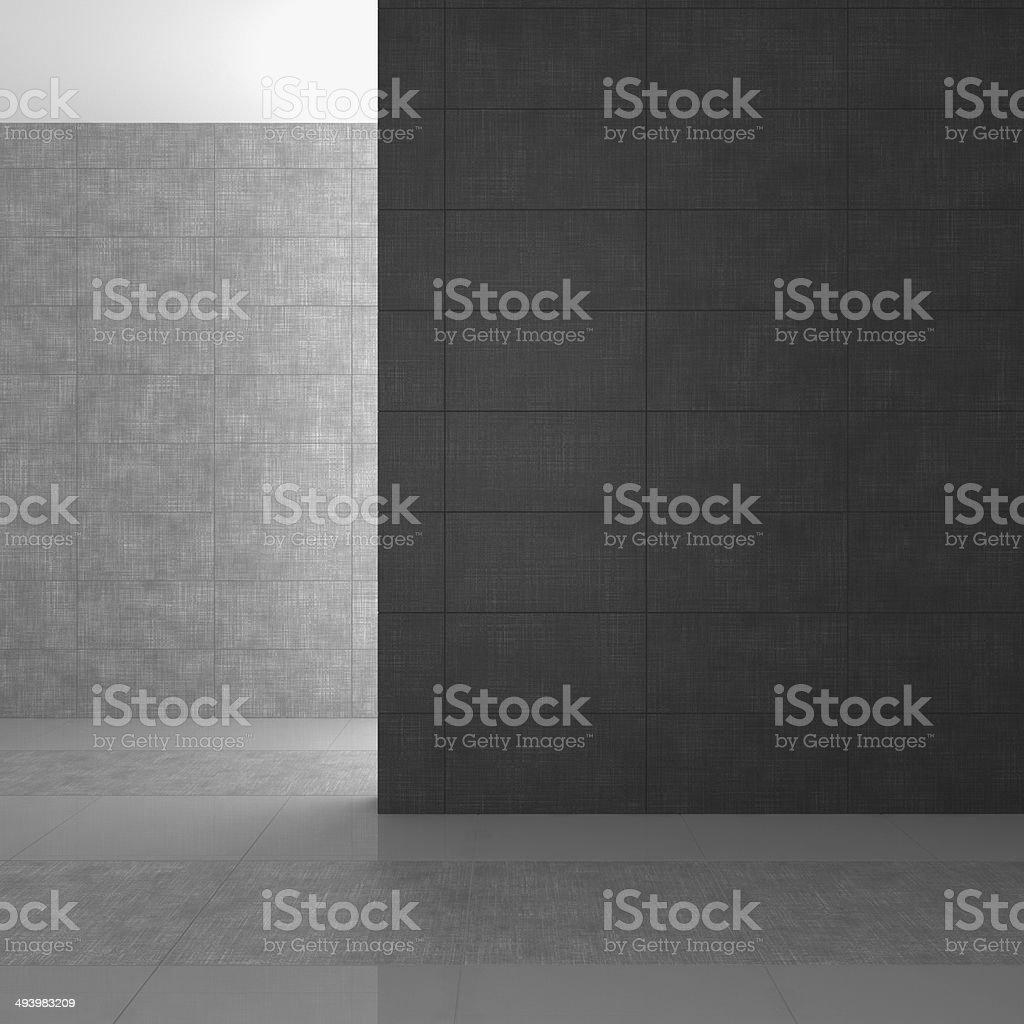 empty modern bathroom with gray tiles stock photo