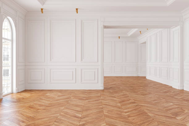 empty modern classic white interior room. 3d render illustration mock up. - sztukateria zdjęcia i obrazy z banku zdjęć