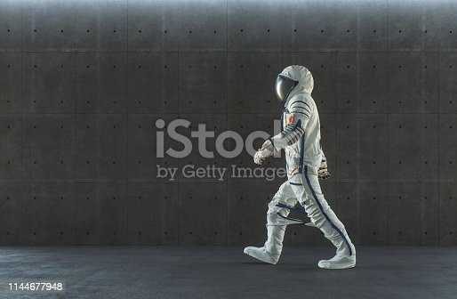 Empty modern concrete office with walking spaceman. This is entirely 3D generated image.