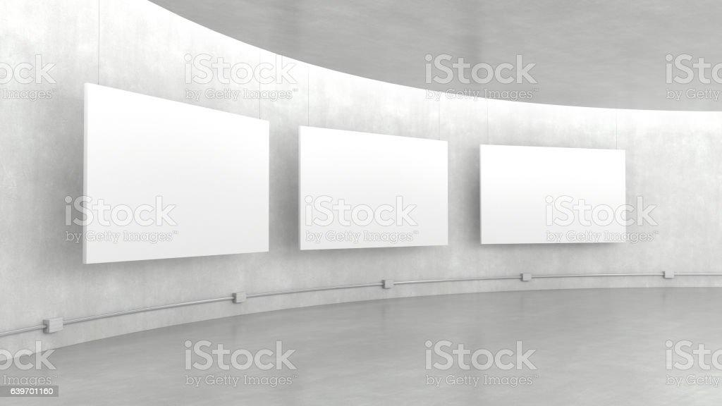Empty modern exhibition gallery interior. stock photo