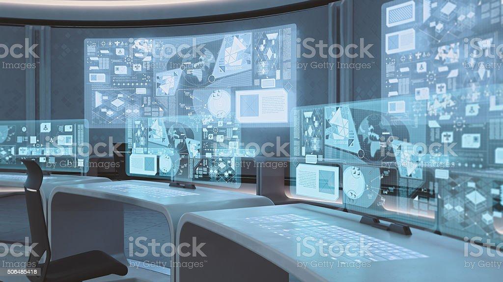 Empty, Modern, Futuristic Command Center Interior Stock Photo