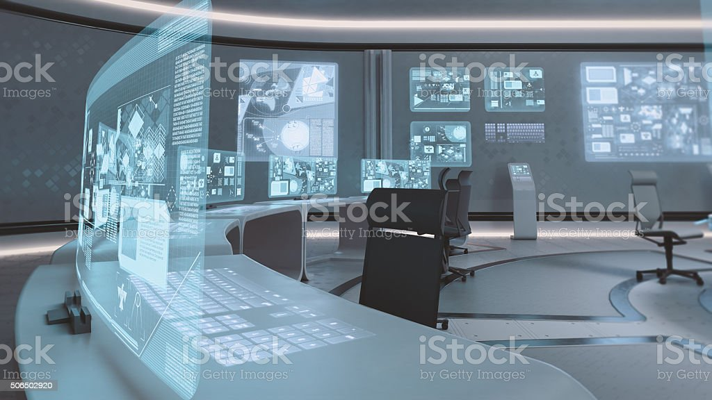 Empty, modern, futuristic command center interior stock photo