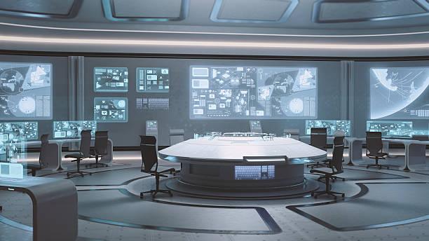 vide, moderne, centre de contrôle intérieur futuriste - vaisseau spatial photos et images de collection