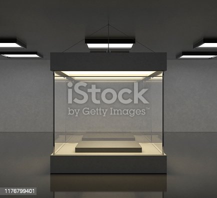 Empty modern gallery space with bright showcase