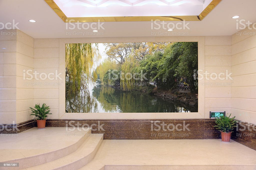 Empty modern hall with scenery royalty-free stock photo