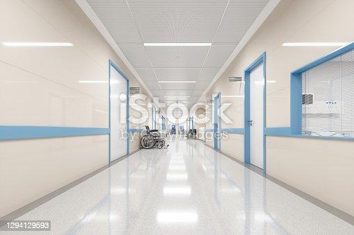 istock Empty Modern Hospital Corridor 1294129593