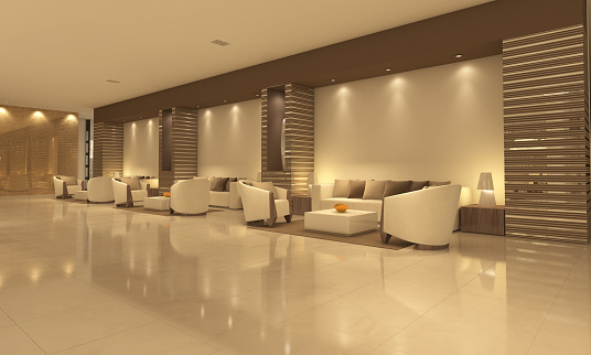 Empty Modern Hotel Lobby With Sitting Area Stock Photo - Download Image Now