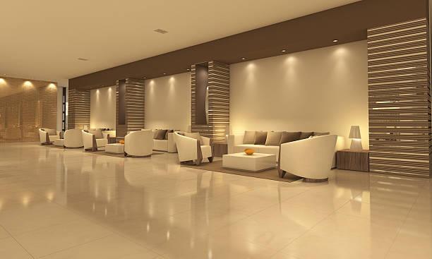 Empty modern hotel lobby with sitting area