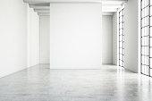 Empty white wall modern interior